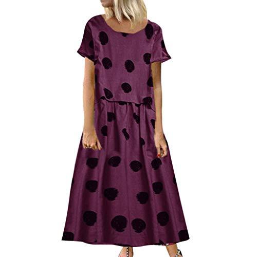 Supertong Damen Lange Kleider Vintage Polka Dot Print Maxikleid Sommer Rundhals Kurzarm Hemdkleid Leinenkleid Freizeit Urlaub Strandkleid