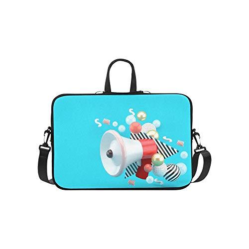 Laptop-Umhängetasche Umhängetasche Tasche Notebook-Griff Hülse Neopren Soft Carring Tablet Reisetasche, rotes Megaphon unter bunten Kugeln auf Laptop-Handtaschen 14