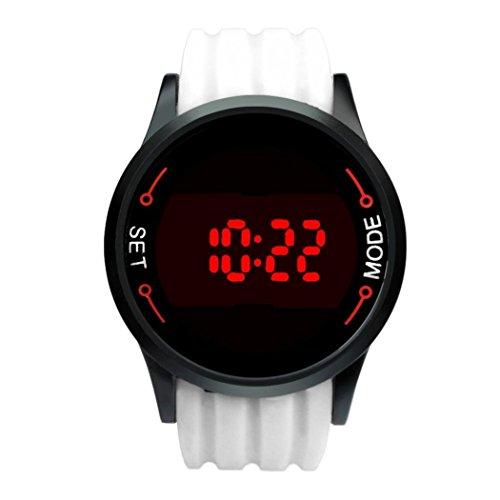 Reloj ♥♥Moda impermeable LED de pantalla táctil fecha silicona reloj negro de la muñeca (Blanco)