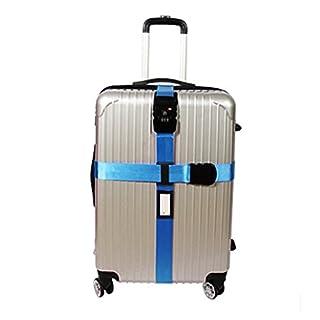 Queta Koffergurt TSA Schloß Kofferband Kreuz Gepäckgurt Reise Luggage Straps (Blau)