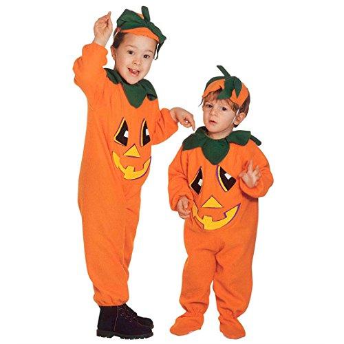 Kinder Kürbiskostüm Halloween Kürbis Kostüm XXS 104 cm 2-3 Jahre Halloweenkürbis Kinderkostüm Pumpkin Halloweenkostüm Gemüse Faschingskostüm Herbst Mottoparty Verkleidung Karneval Kostüme Kinder (Herbst Kostüm)