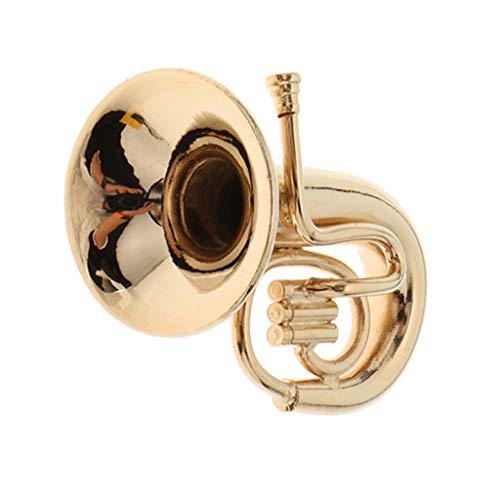 perfeclan 1/12 Puppenhaus Musikzimmer Zubehör Möbel - Miniatur Tuba aus Metall - Golden