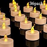 Lot de 36 bougies LED Bougies CR2032 piles Bougies Unscented Bougie chauffe-plat sans flamme claire vacillante gefälschte Bougie...