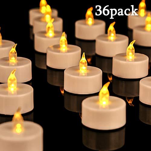 OSHINE 36unidades LED Velas Velas CR2032 pilas velas sin llama de iluminación eléctrica falso Vela para Hogar Navidad boda mesa regalo al aire libre cálido Amarillo ...