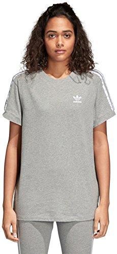 adidas Damen 3-Stripes T-Shirt, Medium Grey Heather, 42