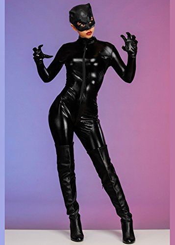 Magic Box Int. Womens schwarzes Catwoman Kostüm Medium (UK (Catwoman Kostüm Kostüme Uk)