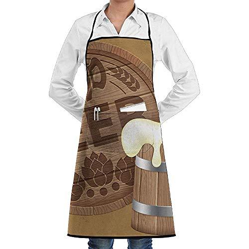 UQ Galaxy Küche Schürzen,Oktoberfest-Bierfass-Becher-Schutzblech-Spitze-Erwachsener Chef Adjustable Long Full Black Cooking Küchen-Schutzbleche Lätzchen mit Taschen für BBQ-Backen - Für Erwachsene Bierfass Kostüm