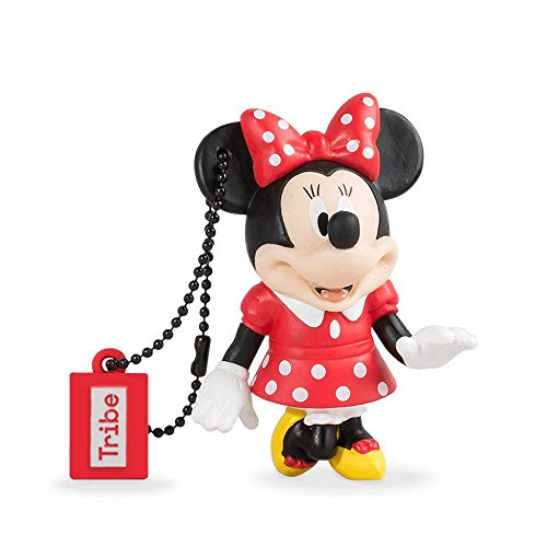 Tribe disney minnie mouse chiavetta usb da 8 gb pendrive memoria usb flash drive 2.0 memory stick, idee regalo originali, figurine 3d, archiviazione dati usb gadget in pvc con portachiavi