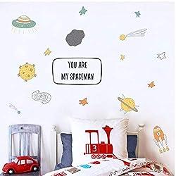 Annqing Cartoon Wandaufkleber Aufkleber Raumschiff Meteorit Planeten Raumfahrer Kombination Kinderzimmer Diy Hauptdekoration Aufkleber Aufkleber
