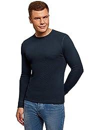 oodji Ultra Hombre Camiseta Básica de Manga Larga de Algodón