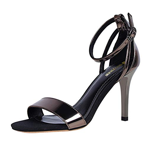 XLZHD Frauen Stiletto Sandalen Open Toe Knöchelriemen, Durchbrochene Cross Strap Sandalen Sandalen, Kleid High Heel Sandalen Für Dating Hochzeit Lässig Etc,Chrome,40 High Chrome Heel Pumps