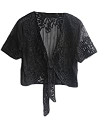 Bolerino Donna Elegante Vintage Trasparente Pizzo Manica Ragazza  Abbigliamento Fashionable Corta Coprispalle Bolero Cardigan Top Per 889b481f15e5