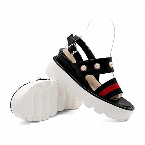Mee Shoes Damen süß Schnalle open toe plattform Sandalen Schwarz