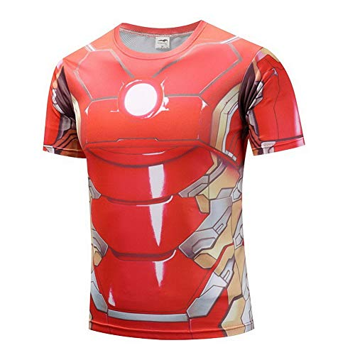 HOOLAZA Avengers Super Heroes Men Kurzärmeliges Kompressions-T-Shirt Iron Man Tops Fitness (Hero Male Kostüme Super)