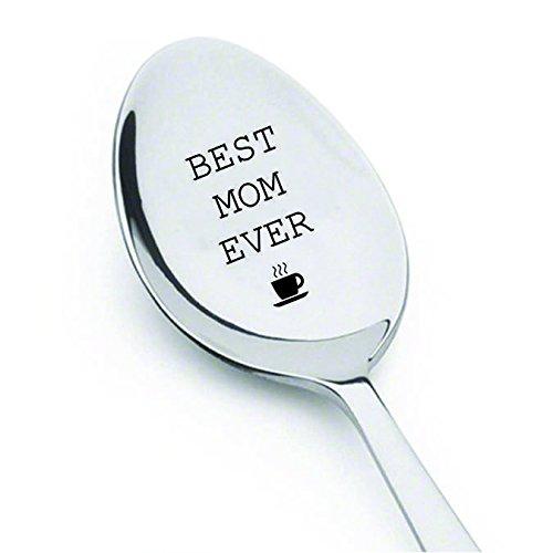 """Cucchiaino con inciso """"best mom ever"""", con tazza da tè, regalo ideale per la mamma migliore"""