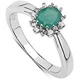 The Emerald Ring Collection: Beautiful Sterling Silver Oval Emerald & Diamond Cluster Engagement Ring
