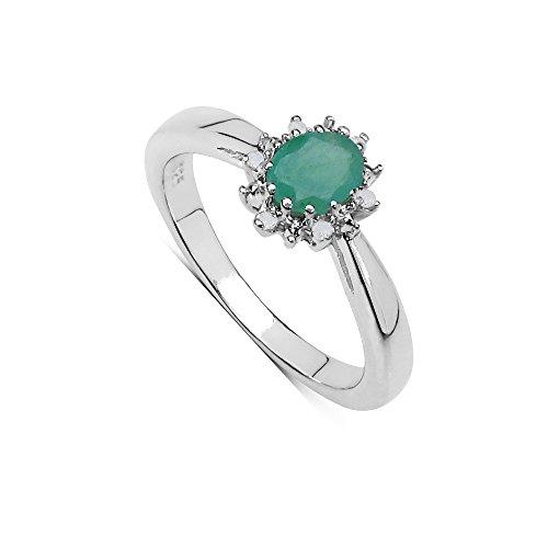 Damen-Fingerring Verlobungsring Sterling-Silber 925 Smaragd oval Diamanteinfassung Smaragd-Kollektion