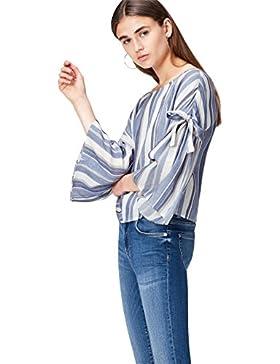 [Patrocinado]FIND Camisa de Rayas con Detalle de Lazada Para Mujer