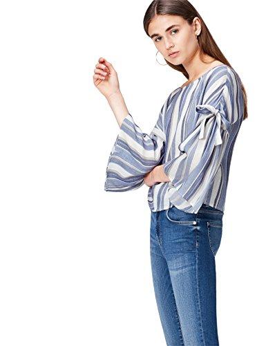 find. Bluse Damen Boho-Style mit Streifen Blau (Blue Stripe), 36 (Herstellergröße: Small)