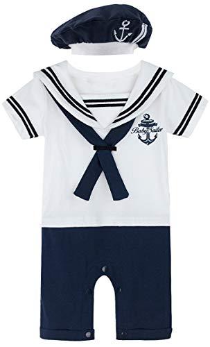 MOMBEBE COSLAND Baby Jungen Matrose Kostüm Strampler with Hüte (0-3 Monate / 70 UK, - Passende Baby Kleinkind Kostüm