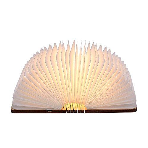 Tomshine Stimmungsbeleuchtung,Buch Lampe,Nachttischlampe,Tischleuchte,Warmweiß aus Holz,Papier mit USB-Kabel,Batteriebetriebene 500LM/880mAh,360°Faltbar