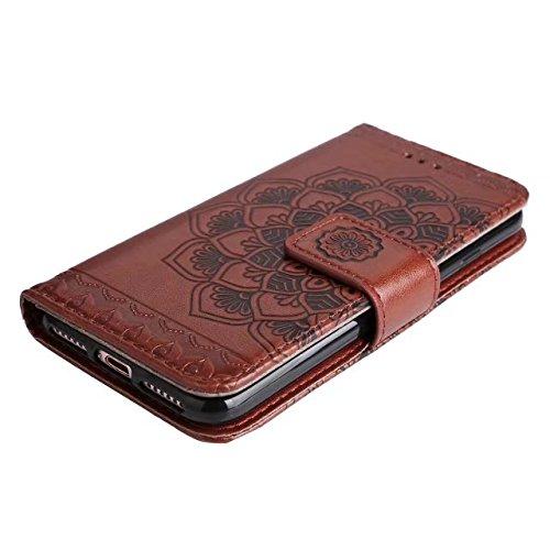 Pour l'iPhone 7, brillant et mignon floral fleur en relief motif horizontal Folio Flip Stand Case, portefeuille sacoche JING ( Color : Green ) Brown