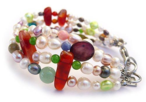 Braccialetto in reali perle coltivate d'acqua dolce