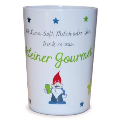 kjomizo - grün weißer Becher aus Melamin mit dem kleinen Gourmet Zwerg und einem lustigen Reim für Kinder Gourmet-becher