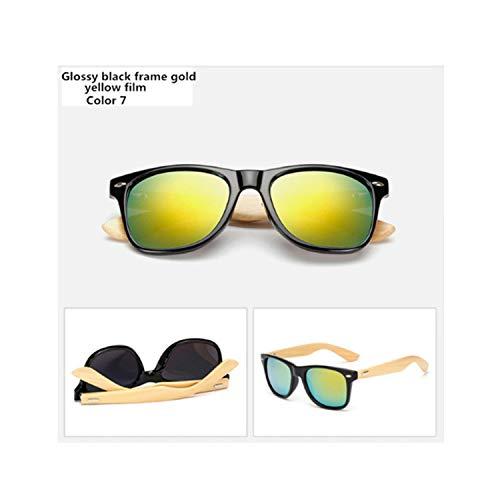 Klassische Sportsonnenbrille, Bamboo Sunglasses Men Women Travel Goggles Sun Glasses Vintage Wooden Leg Eyeglasses Fashion Sunglasses Male Female Color 7
