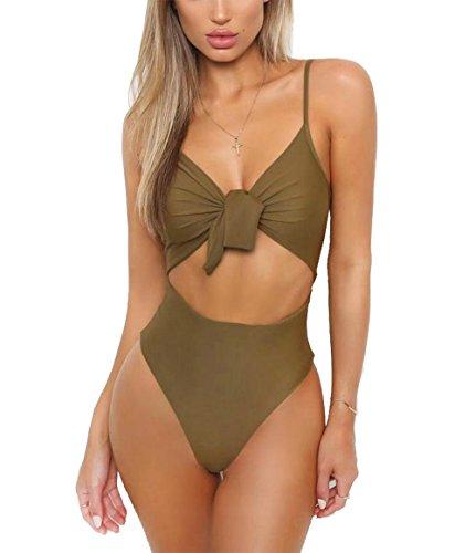 CoCo Fashion Damen Badeanzug Einteiler Bademode Neckholder Monokini Rückenfrei Bikini (EU XL, Grün)