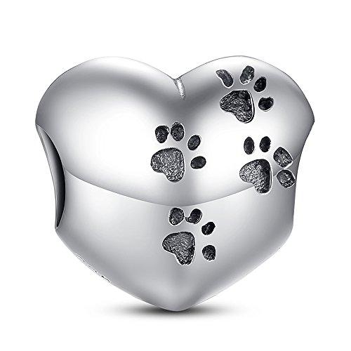 Herz Pfotenabdruck 925Sterling Silber Bead Herz My Sweet Pet Paw Print Charm Passform Armband Halskette Zubehör Schmuck Herstellung -