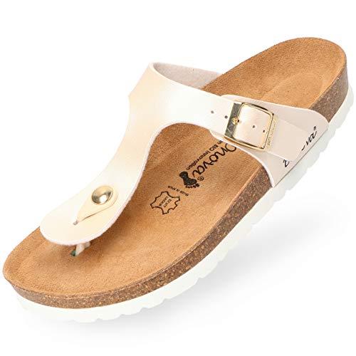 BOnova Damen Zehen-Trenner Ibiza in 14 Farben, stylische Pantolette mit Kork-Fußbett - Sandalen zum Wohlfühlen - hergestellt in der EU Light-beige metallic 38