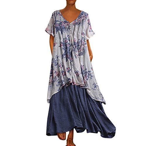 Empire Taille Seide Bluse (Mode Freizeit Kleid Damen Sommer Langes Kleid Leinen Kleider Vintage Blume Gedruckt GefäLschte Zweiteilige BeiläUfige Oansatz Maxi Kleider Kaftan Kleid Luftiges Kleid Florydays Kleider Z-Blau2 M)
