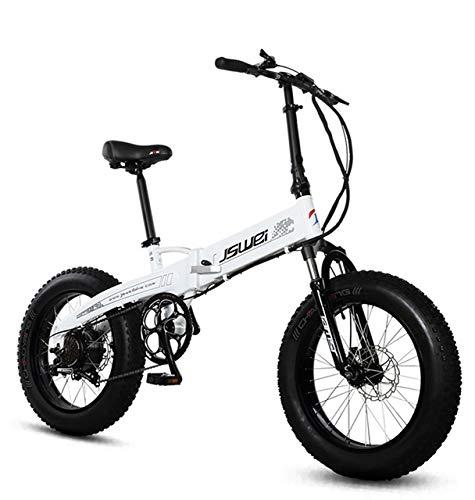 SHIJING Bicicleta Plegable eléctrica 20 Pulgadas 4.0snow neumáticos de Grasa 36v 350W batería energía...