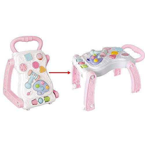 Sipobuy Bebé Primeros pasos Actividad Caminante y juego Mesa 2 EN 1 Sillas de aprendizaje para sentarse, de pie Juguetes para niños, niñas y niños, rosa