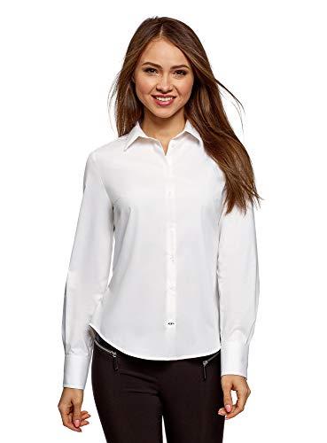 oodji Ultra Damen Baumwoll-Hemd Basic, Weiß, DE 38 / EU 40 / M