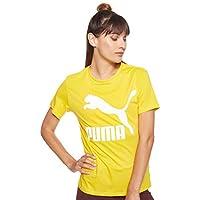 PUMA Women's Classics Logo Tee Sulphur, (Yellow 20), Large