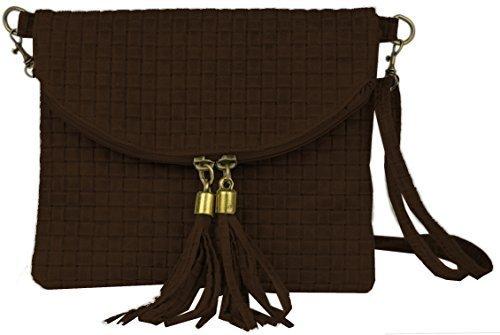 """Bags4Less """"Dubai"""" Flecht Clutch / Abendtasche / Flechttasche aus echtem Leder (Flecht Braun)"""