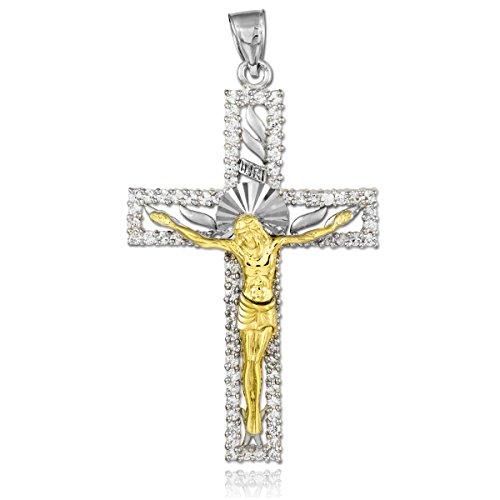 10K dos tonos 471/1000 Oro Blanco y Amarillo collar circonio Cúbico Crucifijo Colgante (Libro Con Cadena