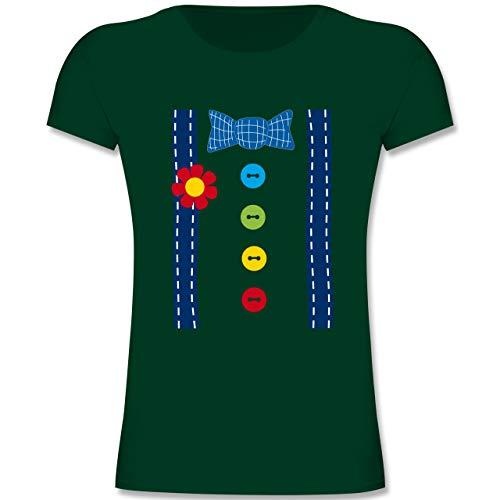 Karneval & Fasching Kinder - Clown Kostüm blau - 164 (14-15 Jahre) - Tannengrün - F131K - Mädchen Kinder T-Shirt