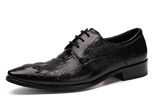 Glshi Hommes Oxford Brogue New Business Costumes Chaussures Hommes Chaussures Crocodile Motif Authentique Chaussures Pointu Noir