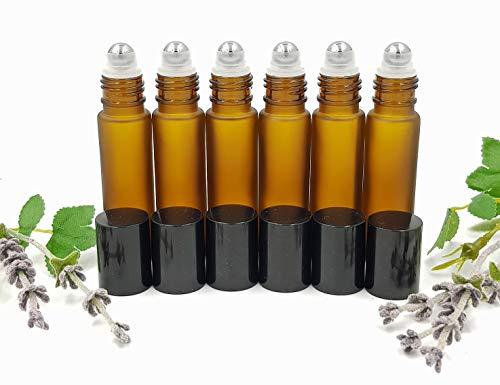 Avalon Kosmetik Verpackung 6 x 10ml bernsteinfarben gefrostet leer nachfüllbar Metallroller Ball Roll on Glasflaschen mit schwarzen Verschlüssen
