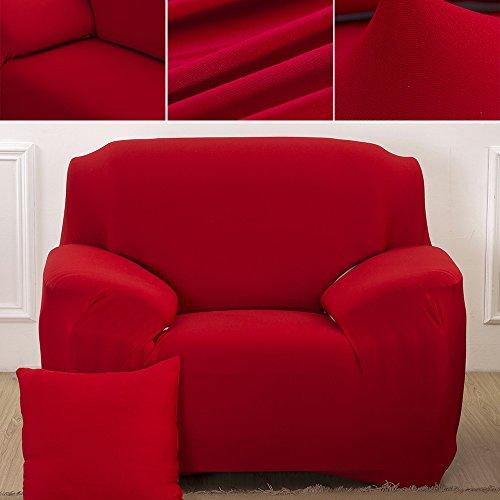 Sofabezug Sofahusse Sofaabdeckung Sesselbezug Sesselhusse Sofaüberwurf Stretch Elastisch (Sessel 90cm-140cm, Rot)