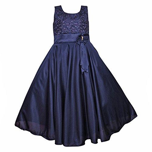 Wish Karo Girls Lycra Party Wear Long Frock Dress - (LF138nb_5-6 Years_Blue)