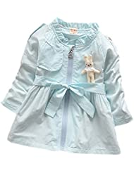 DELEY de las Niñas de Bebé de la Cremallera de Conejo Trinchera de la Chaqueta de Abrigo de Tops de Vestir Outwear