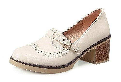 AllhqFashion Damen Schnalle Rund Zehe Mittler Absatz Rein Pumps Schuhe Cremefarben