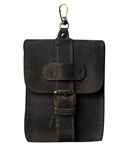 Genda 2Archer Uomini Mini Borse Gancio, Cintura in Vita, Supporto del Cellulare (marrone) (marrone scuro) blu scuro