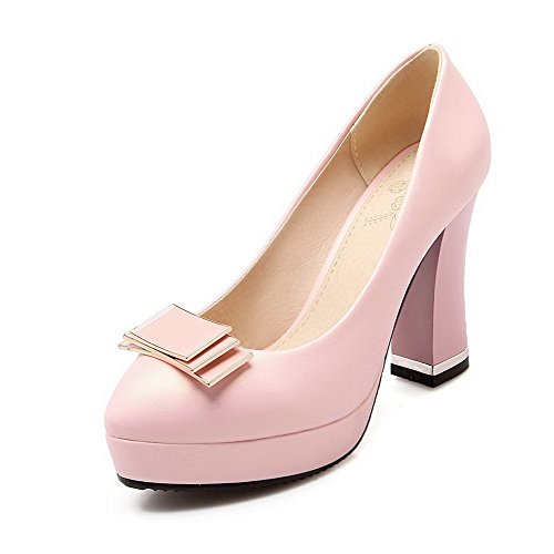 VogueZone009 Femme Couleur Unie Pu Cuir à Talon Haut Rond Tire Chaussures Légeres Rose