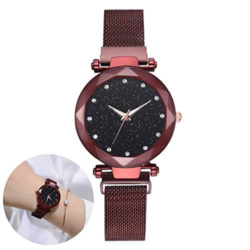 Wudi Relojes de Lujo de Diamantes de imitación Reloj Pulsera magnética señoras Reloj de Cuarzo Compuesto Cielo Estrellado simulado Diamantes Rojos Relojes-Pulseras-Caliente