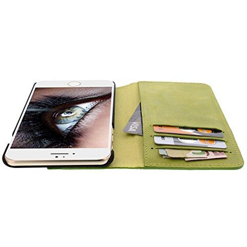 Blumax étui en cuir pour apple iphone 6 plus/6s iphone plus avec compartiment cartes de crédit porte-monnaie case porte-livre pliable en cuir véritable ANTIK GRÜN